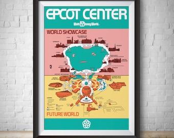 Epcot map | Etsy