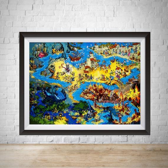 Pirates of the Caribbean Disney Ride Poster A4 Art Print