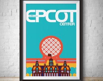 Epcot Vintage Epcot Center Disneyland Vintage Disney Print Disneyworld Print Epcot Poster Epcot Center Poster Wall Art WDW Vector