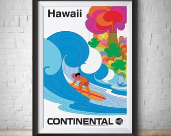 Hawaii Vintage Travel Poster Continental Air Vintage Advertisement Hand Drawn Wall Art Hawaiian Art Travel Poster Vintage Hawaii