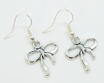 Bow Earrings, Ribbon Earrings, Cute Earrings, Valentines Gift, Valentines Jewellery, Bow Jewellery, Sewing Jewellery, Dangle Earrings
