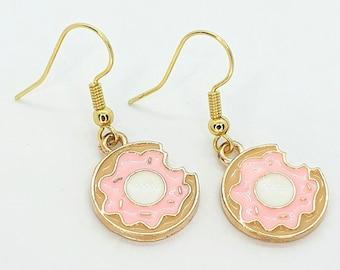 Bitten Doughnut Earrings, Doughnut Jewellery, Cute Earrings, Donut Earrings, Food Jewellery, Quirky Earrings, Dangle Earrings, Cute Gift