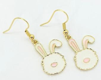 Enamel Bunny Earrings, Bunny Jewellery, Rabbit Earrings, Rabbit Jewellery, Animal Accessories, Bunny Gift, Animal Lover, Gold Plated, Cute