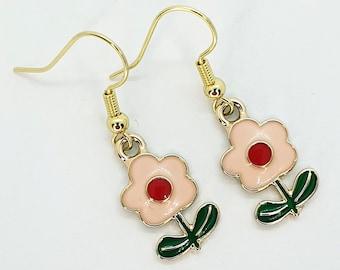 Pink Daisy Earrings, Daisy Jewellery, Flower Earrings, Flower Jewellery, Flower Gift, Floral Earrings, Floral Jewellery, Dangle Earrings