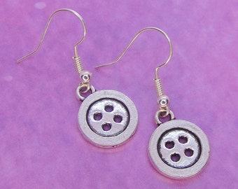 Button Earrings, Button Jewellery, Sewing Jewellery, Button Gift, Sewing Gift, Sewing Earrings, Dangle Earrings, Seamstress Gift