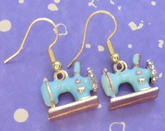 Blue Sewing Machine Earrings, Sewing Jewellery, Sewing Earrings, Seamstress Gift, Cute Earrings, Gold Plated, Dangle Earrings, Sewing Gift