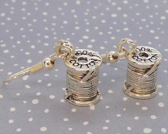 Cotton Reel Earrings, Sewing Jewellery, Spool Earrings, Sewing Earrings, Crafty Jewelry, Sewing Needle, Sewing Accessories, Dangle Earrings