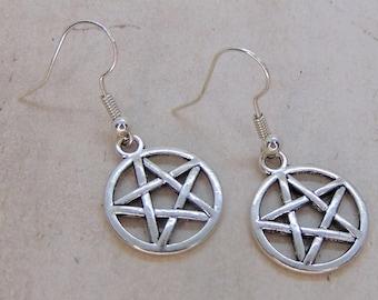 Pentagram Earrings, Wiccan Jewellery, Pentacle Earrings, Wicca Earrings, Witch Earrings, Witch Jewellery, Halloween Jewellery, Punk Gift