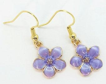 Purple Flower Earrings, Floral Earrings, Floral Jeweller, Flower Jewellery, Boho Earrings, Purple Jewellery, Cute Earrings, Dangle Earrings