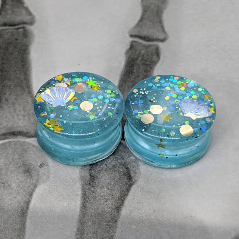 Mermaid seabed 20mm ear plugs 34 1 pair tunnels gauge aqua ocean