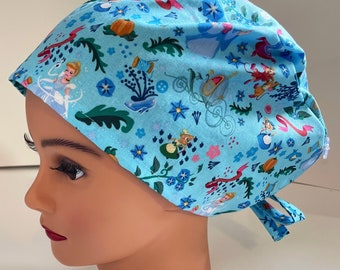 Surgical scrub hat inspiring quotes buttons back tie handmade