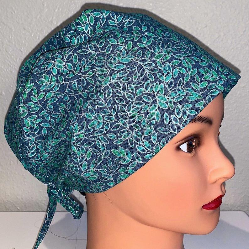 Scrub Hat Dental scrub Cap Green and Silver Foil Sparkling Leaves Scrub Cap with Buttons #5 Surgical Cap Surgical Hat ER Tech Cap