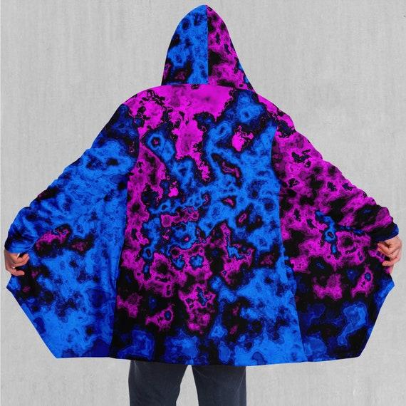 Cyber City Vaporwave Retro EDM Rave Festival Sherpa Lined Hooded Cloak