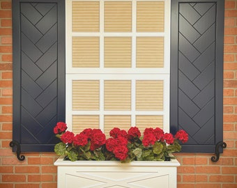 Herringbone Barn door look exterior shutters (Made out of a solid piece no joints)