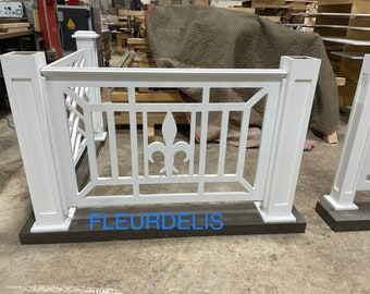 Porch and deck railing panels (FLEURDELIS) (Made out of a solid piece no joints)
