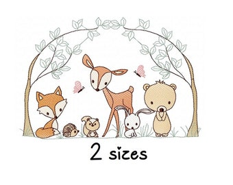 Forest Animals embroidery design, Baby embroidery design machine, Animals embroidery pattern, file instant download, Newborn embroidery