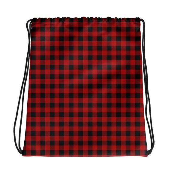 Grey /& Red Plaid Drawstring Backpack