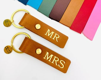 MR & MRS Genuine Leather Keyrings, Unique Quality Wedding Gift Gold, Matching set Hand Crafted in Brisbane Australia Personalised