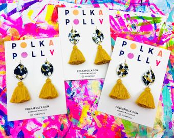 Marbled Monochrome Tassel EARRINGS  tassels dangle drop earrings tassel fat gold black white  by polka Polly brisbane handmade
