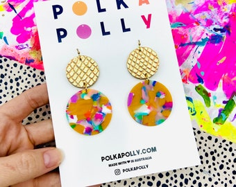 DOUBLES Golden Mustard Rainbow Earrings- statement dangle drop earring handmade by Polka Polly in Australia gold tan stainless leather