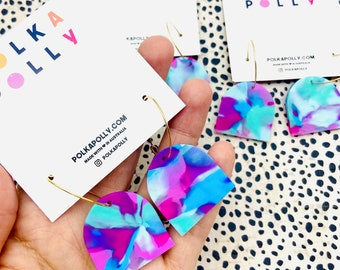 Blue pink arches - transparent statement dangle drop hoop earrings by polka Polly pink blue mint small gold hoops