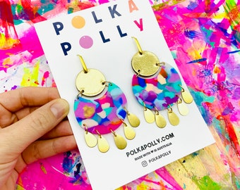 Polka Polly SHIMMER  Earrings. Colourful rainbow statement dangles handmade earring  gold leather brass Australian Made studs, Brisbane