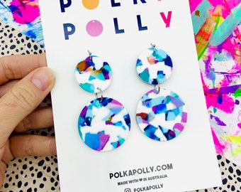 DOUBLES White Terrazo Rainbow Earrings- statement dangle drop earring handmade by Polka Polly in Australia gold blue purple navy stainless