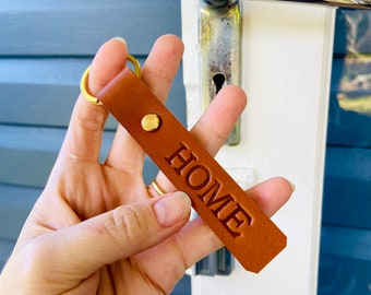 HOME Genuine Leather Keyrings, Unique House Warming Gift, Matching Hand Crafted in Brisbane Australia Personalised