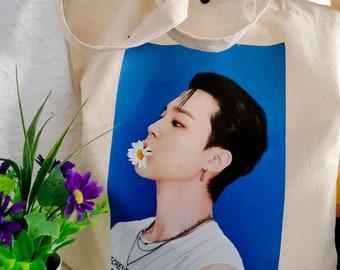 Tote fabric bag with photo Bts. Jimin cloth bag.