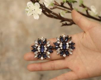 Boucles d`Oreilles Clous Gros Fleur Goutte Bleu Marine Rétro Mariage Cadeau XX 5