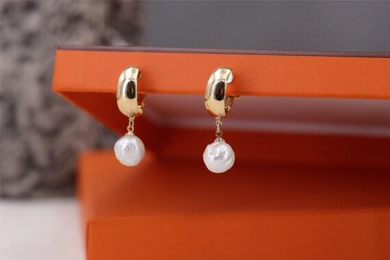 Clips a Vis Pour DIY Boucles d/'Oreilles Doré Perle Blanc 8mm Retro Original