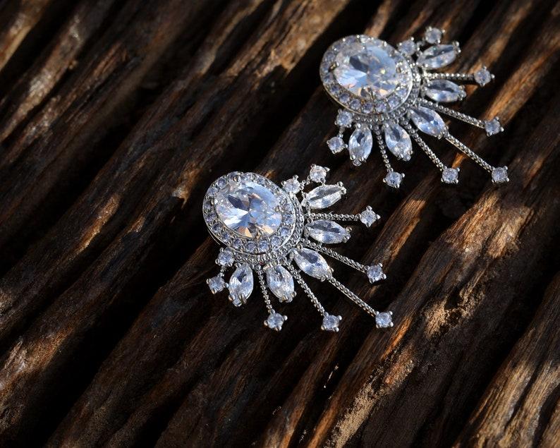 Boucles d/'oreilles Art D\u00e9co Clous Gros Puces Eventail Ovale Cristal CZ Blanc Vert Emeraude Vintage Style Mariage Plaqu\u00e9 Or Blanc