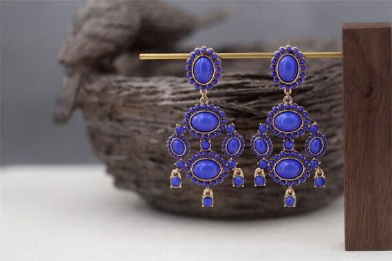 Boucles d`Oreilles Clous Rond Multicolore Jaune Rose Bleu Vintage Baroque AA 7