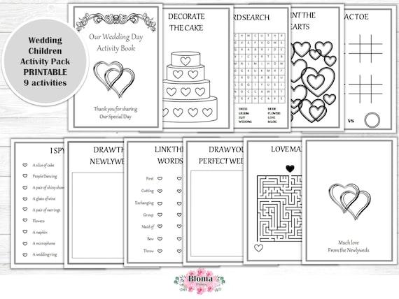 Wedding Activity Book PRINTABLE Children Activity Pack Etsy