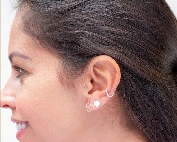 Mix and Match Earrings. Set Of Earrings Small Silver Hoop Earrings Plus Tiny Silver Stud Earrings