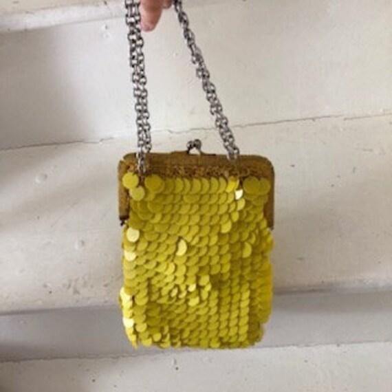 Yellow Disk 1960s Handheld crochet bag