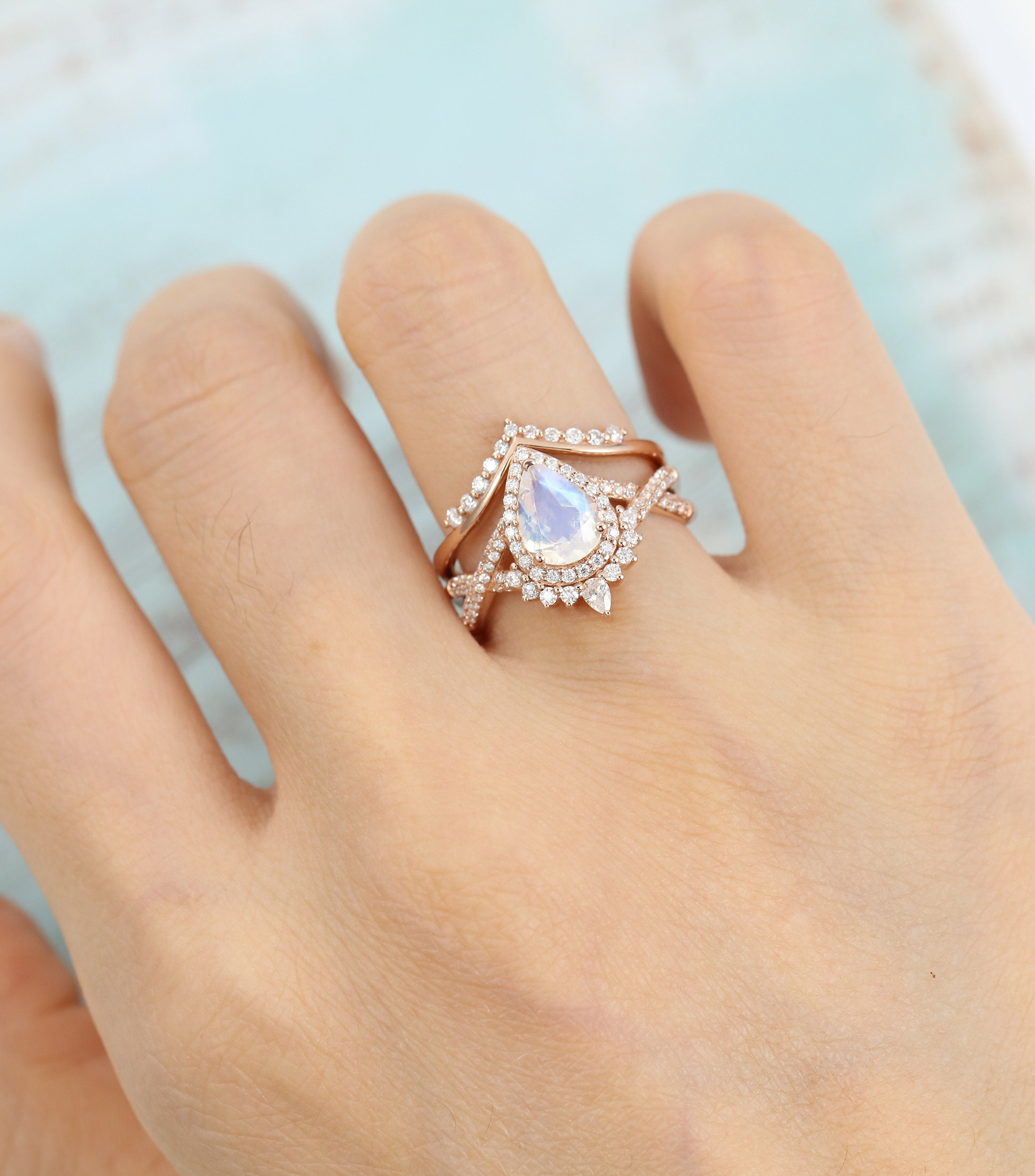 Pear Shaped Moonstone Engagement Ring Set Rose gold image 0
