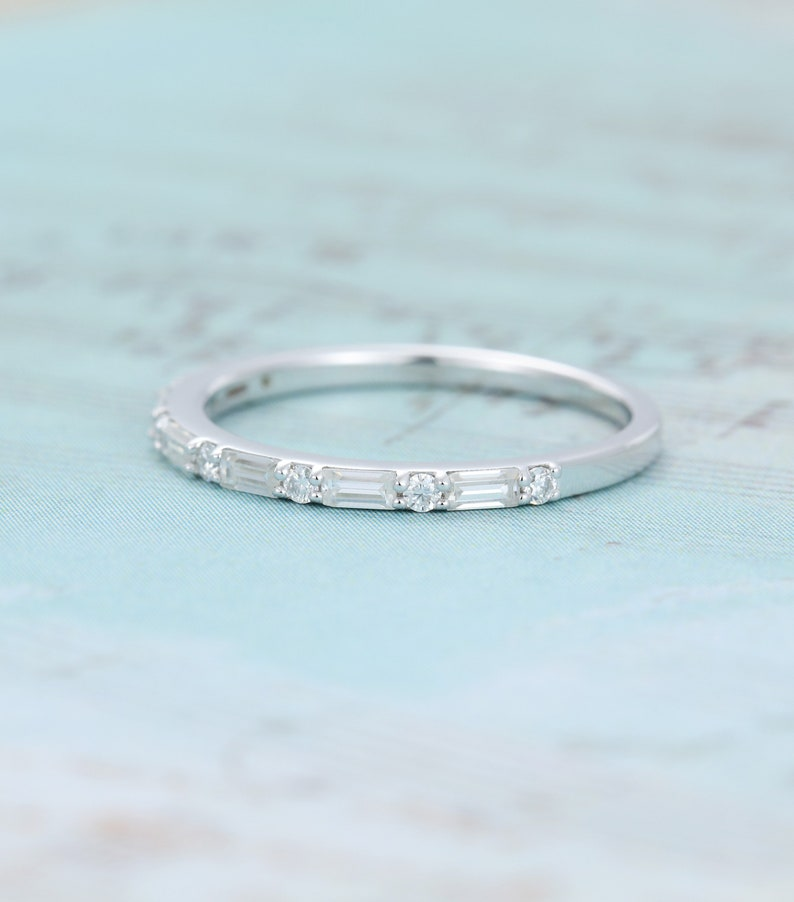 Baguette cut moissanite wedding band women Half eternity vintage wedding band white gold Unique Bridal Matching Stacking ring Promise gift