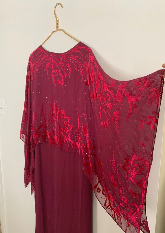 Vintage 80s silk velvet burnout dress