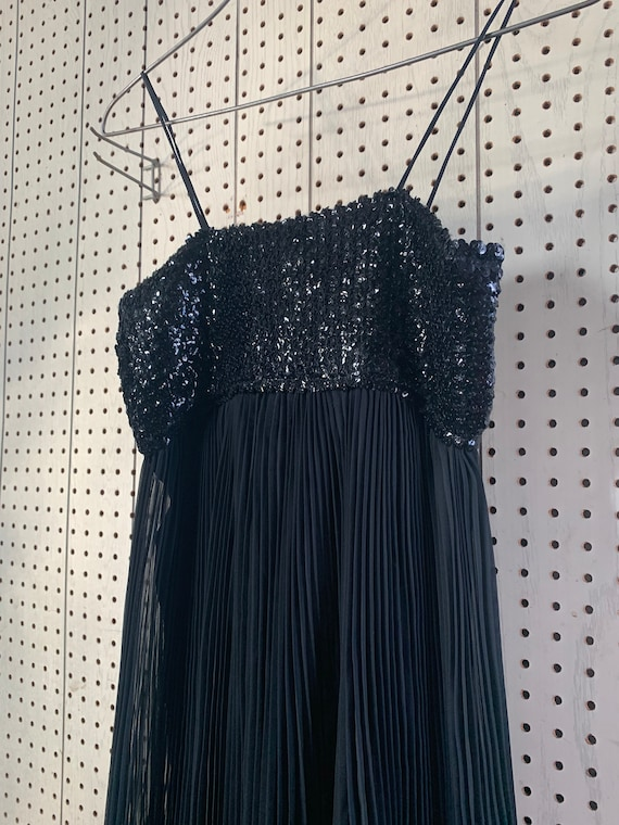 Vintage 50s sequined pleated chiffon evening gown