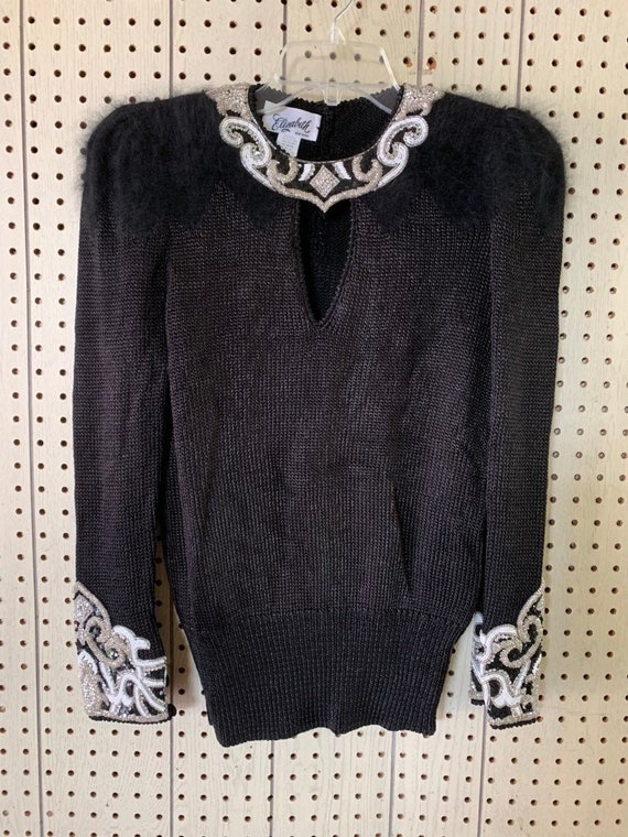 Vintage angora beaded sweater