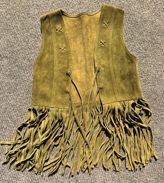 Vintage 60s suede fringe vest real leather