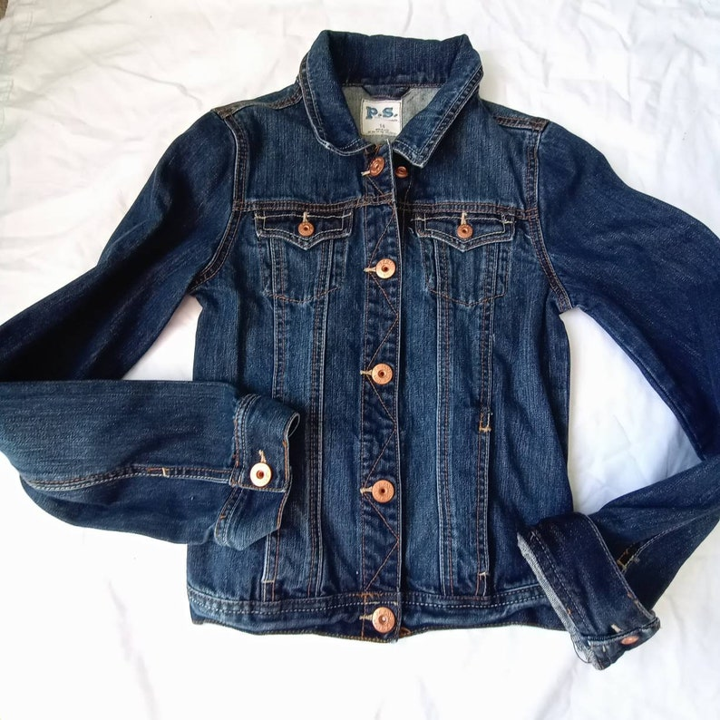 Kids denim jean jacket Size 14 Preworn eco friendly sustainable fashion