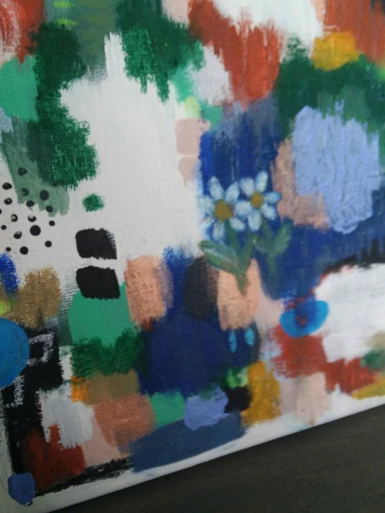 Catskill Daisy Mixed media Original Upcycled abstract painting on canvas