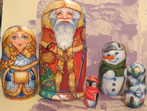 Ded Moroz Matryoshka Wooden Russian Nesting Doll Handmade Russian Santa Claus