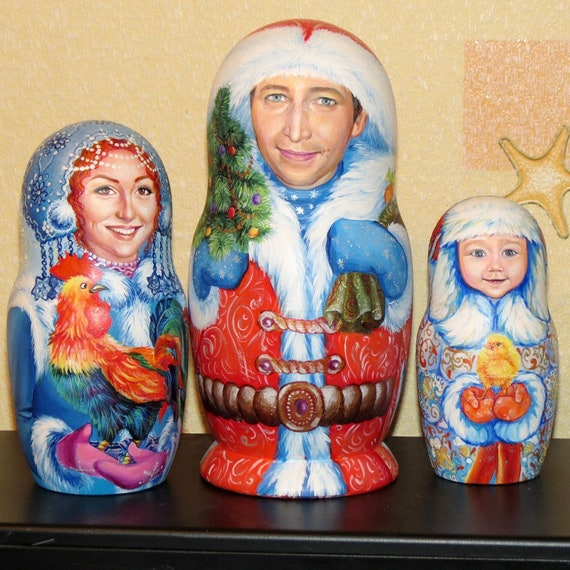 "7 /"" Russian Nesting Dolls CAT ROOSTER Folk Art Stacking Toy Matryoshka HANDMADE"