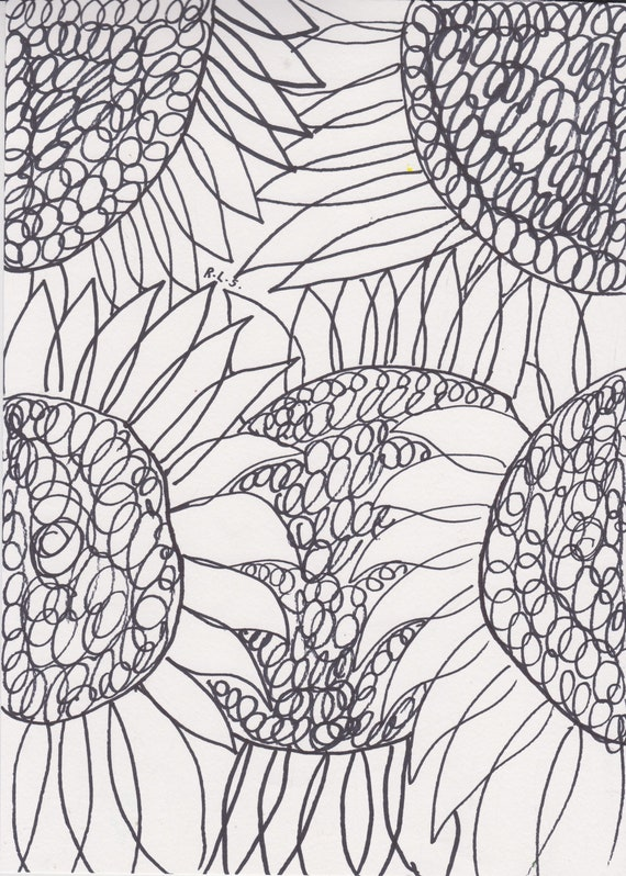 Sunflowers coloring page printable