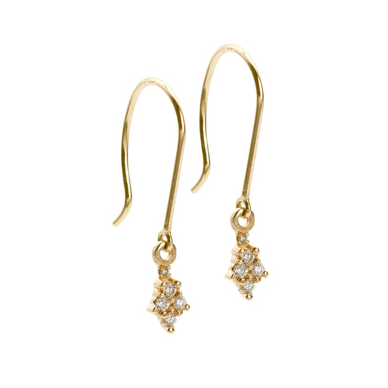 Wedding Jewelry Ona Drops Diamonds 14k Solid Yellow Gold Handmade Earrings Rose Gold White Gold Piercing Bridesmaid Gift