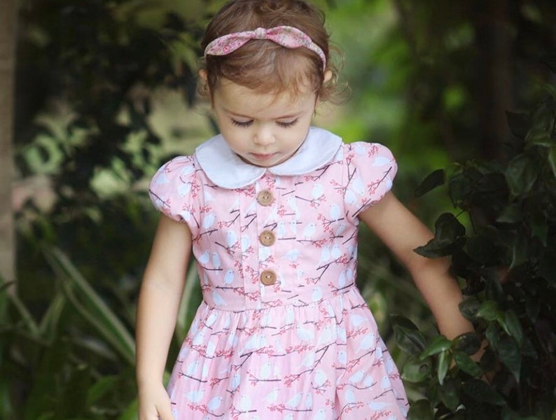 skinny headbands alice hairband baby knot bow Liberty of London headband || Pink petite floral girls hairbow Rosa and the Bee