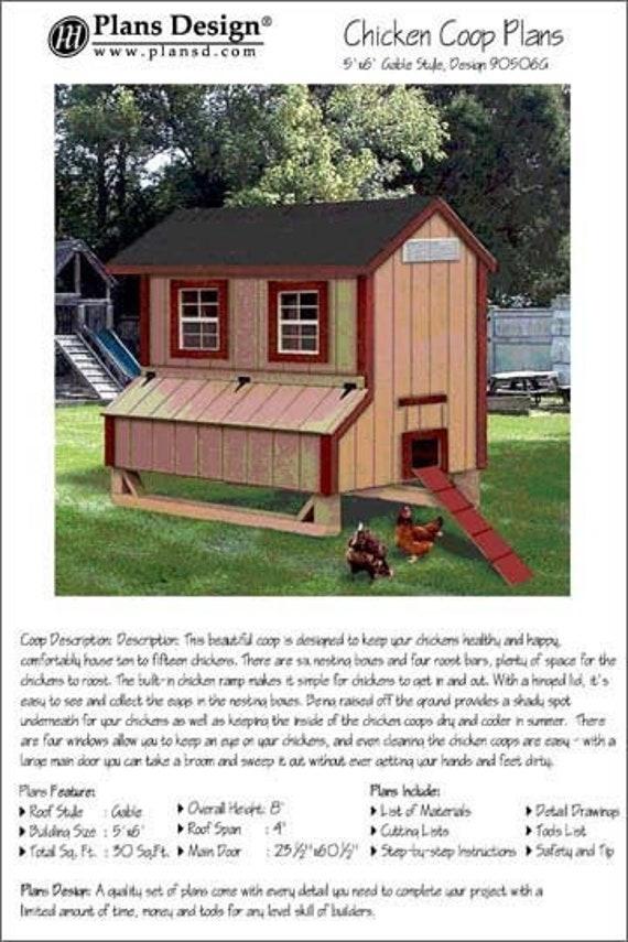 Lean-to Design # 50410SL 4/' x 10/' Saltbox Chicken Coop Plans with Kennel
